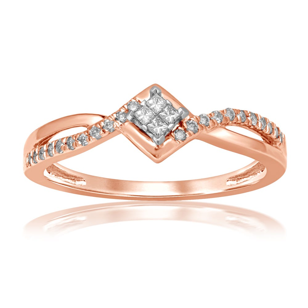 Diamond Quad Plus Promise Ring in 10k Rose Gold
