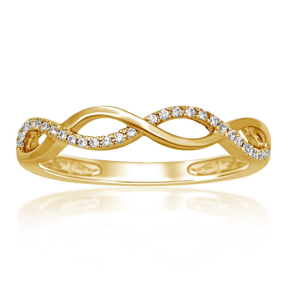 Diamond Fashion Crossover Stackable Ring in 10k Yellow Gold