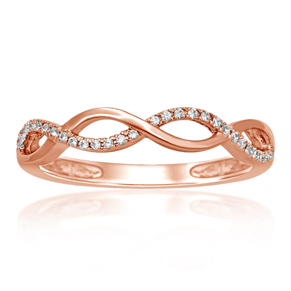 Diamond Fashion Crossover Stackable Ring in 10k Rose Gold