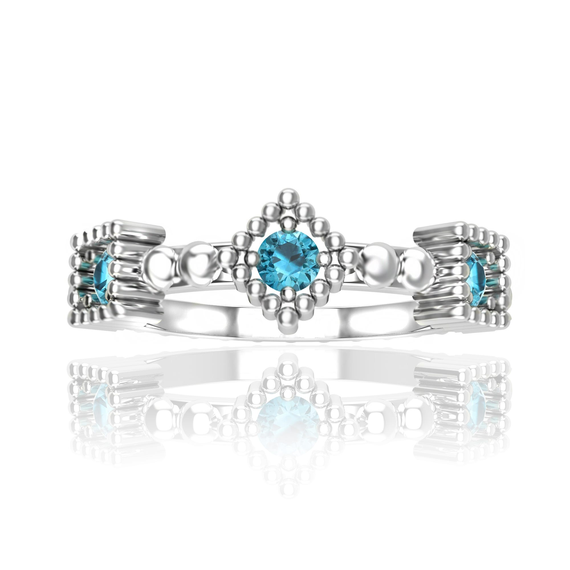 Blue Topaz Stackable Ring in Sterling Silver
