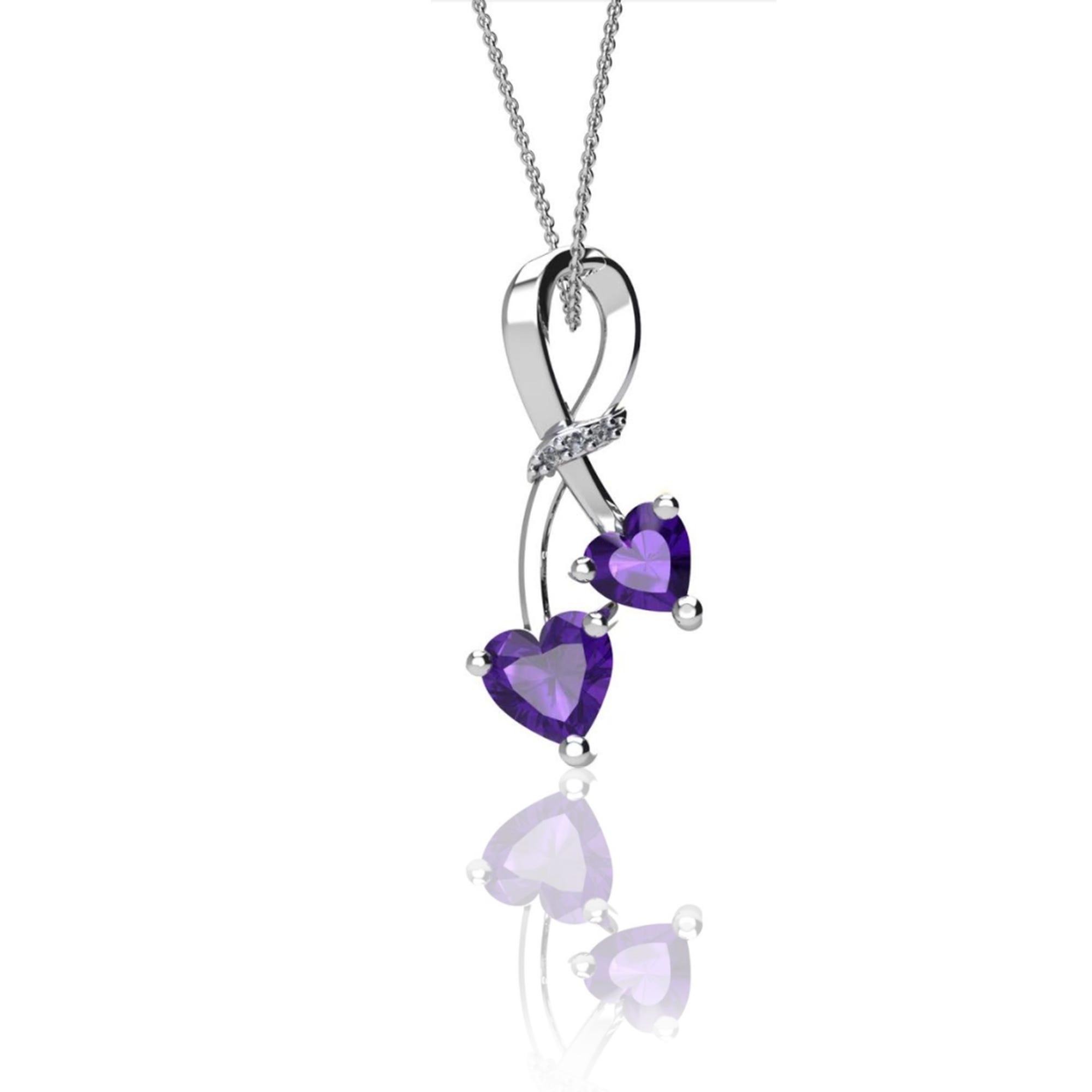 8e70751d0fa2a Double Heart Amethyst & Diamond Crossover Pendant in Sterling Silver