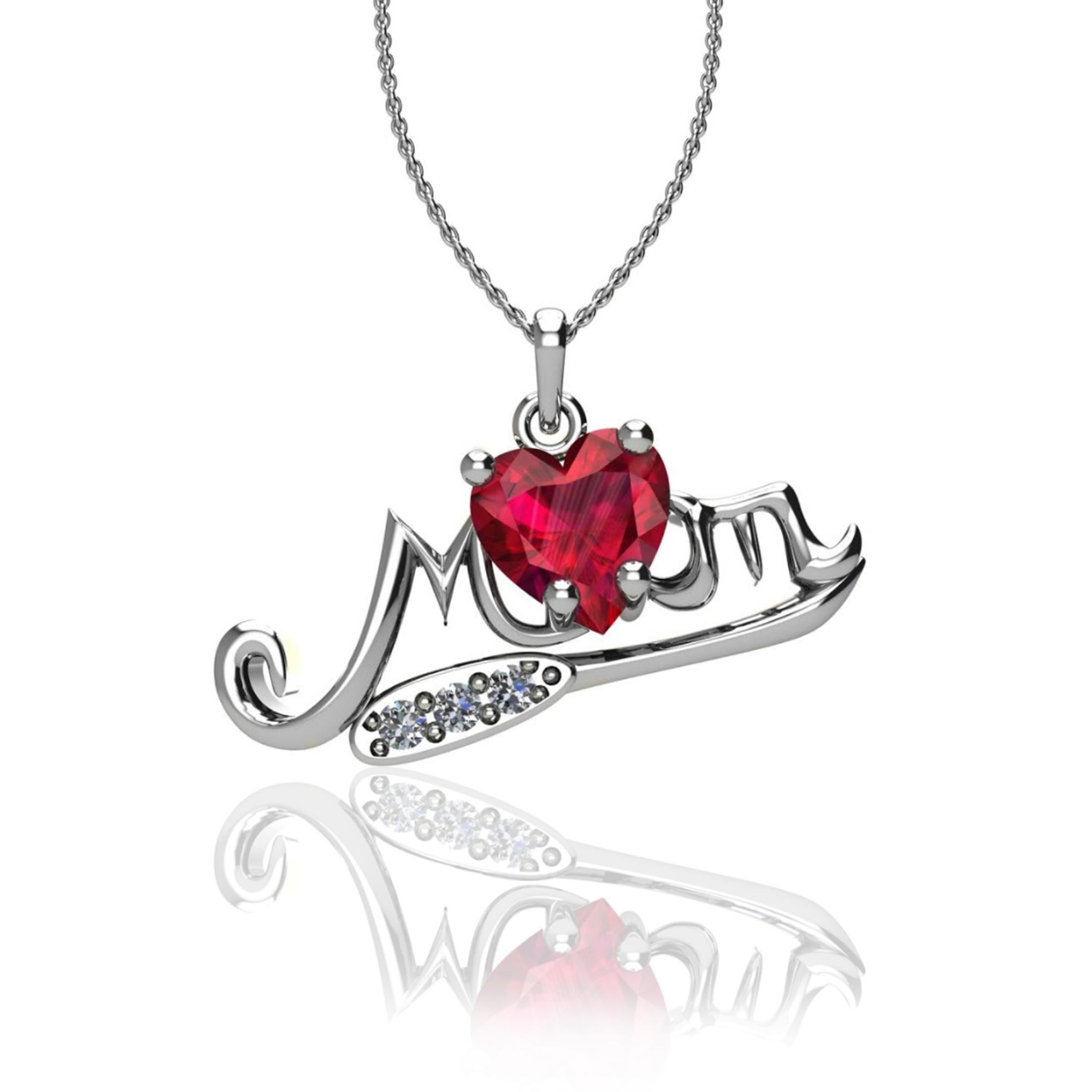 Created Ruby Gemstone Heart Mom Pendant in Sterling Silver