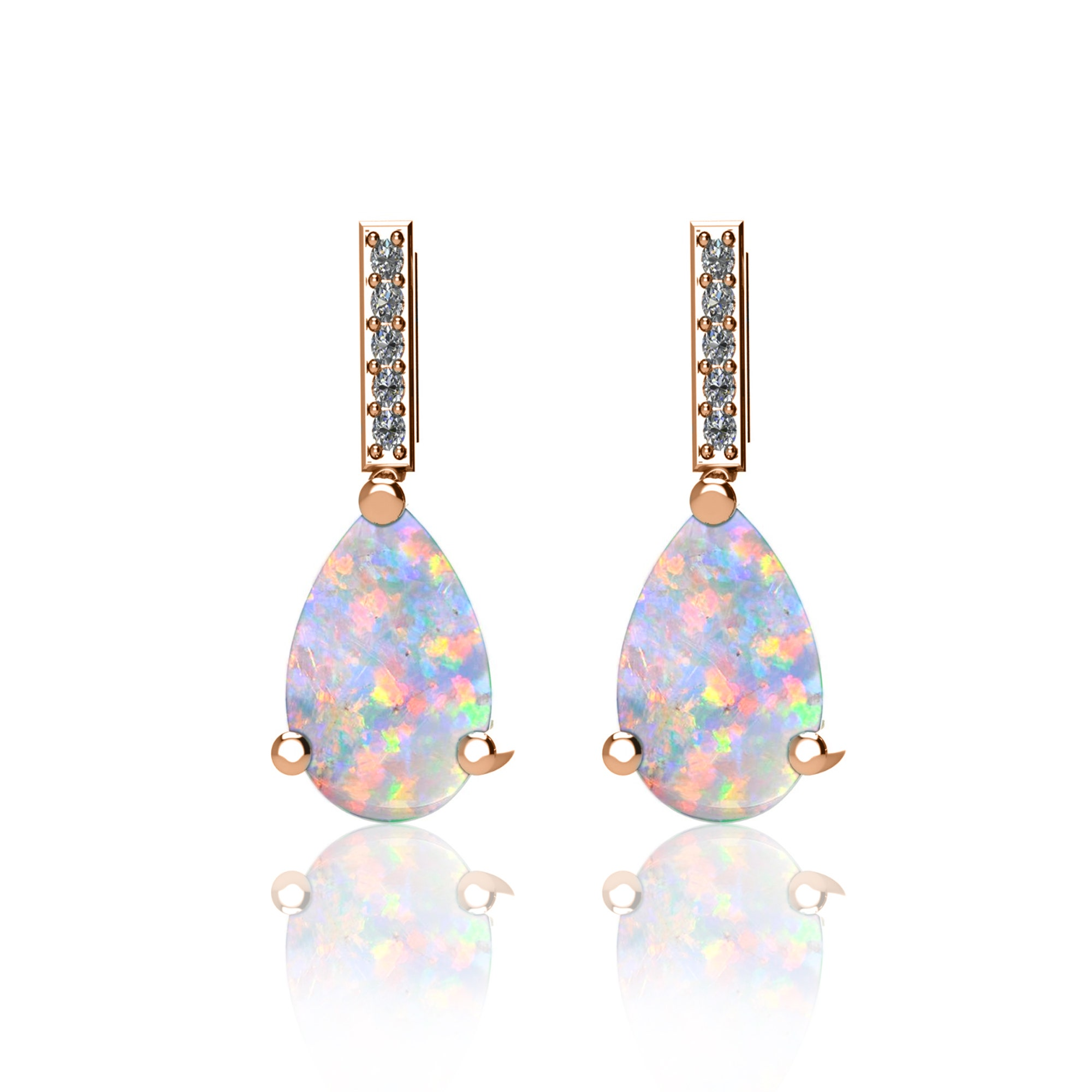 Opal 10x7mm Pear Shapes Stud Earrings White Gold Silver