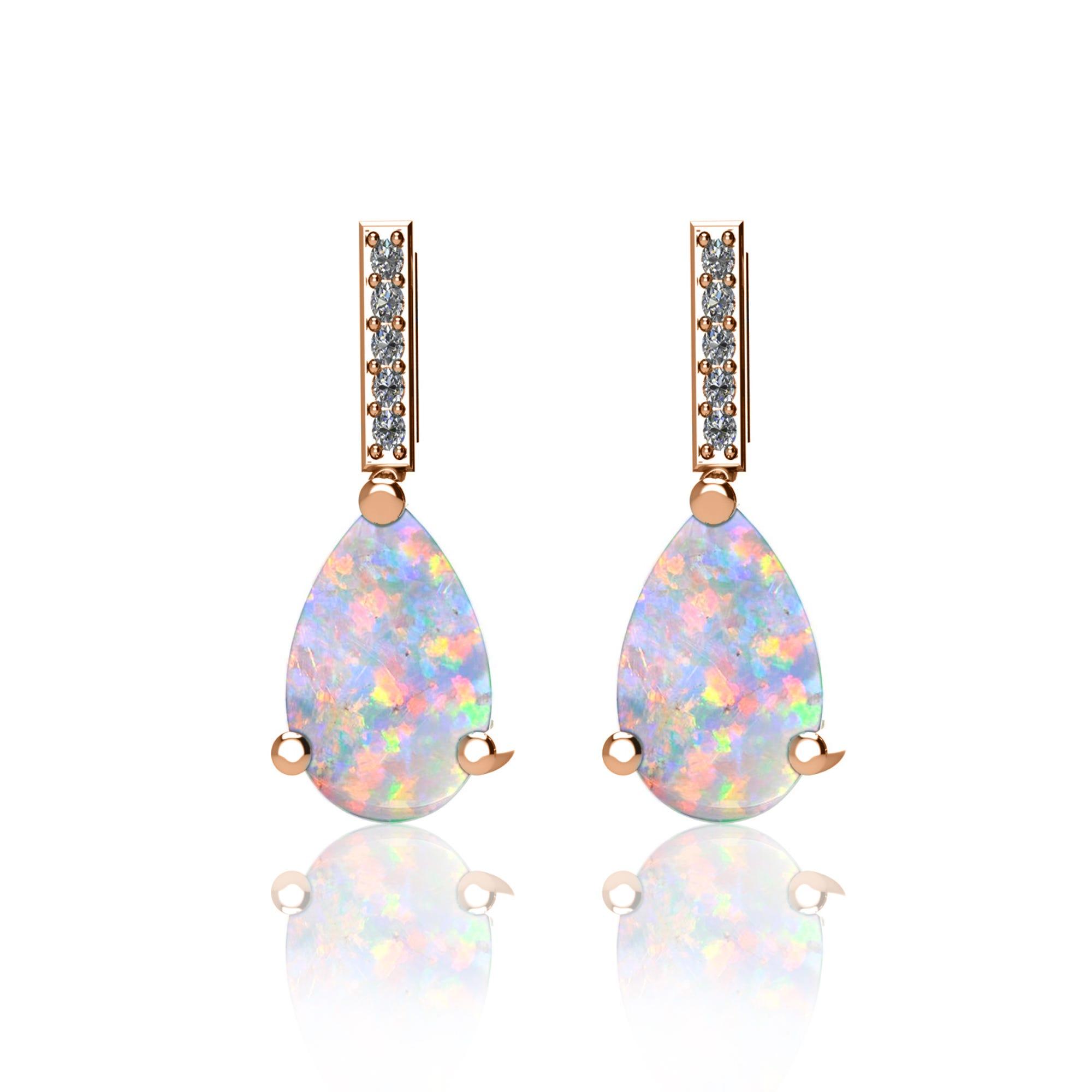 Pear-Shaped Created Opal Gemstone & Diamond Drop Earrings in 10k Rose Gold