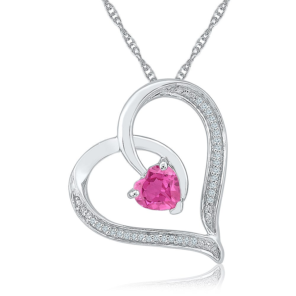 Heart-In-Heart Created Pink Sapphire & Diamond Pendant in Sterling Silver