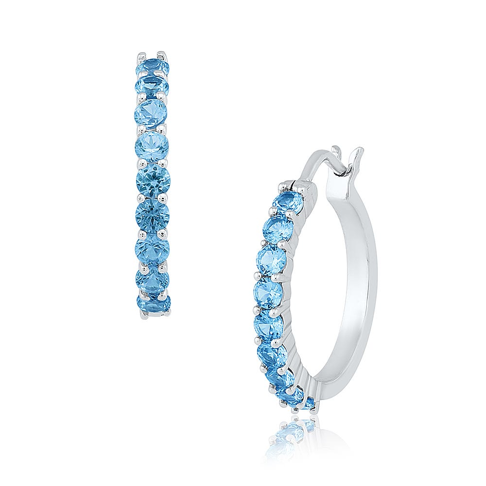 Blue Topaz Hoop Earrings in Sterling Silver