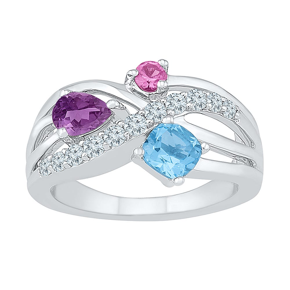 3-Stone Gemstone & White Sapphire Ring in Sterling Silver