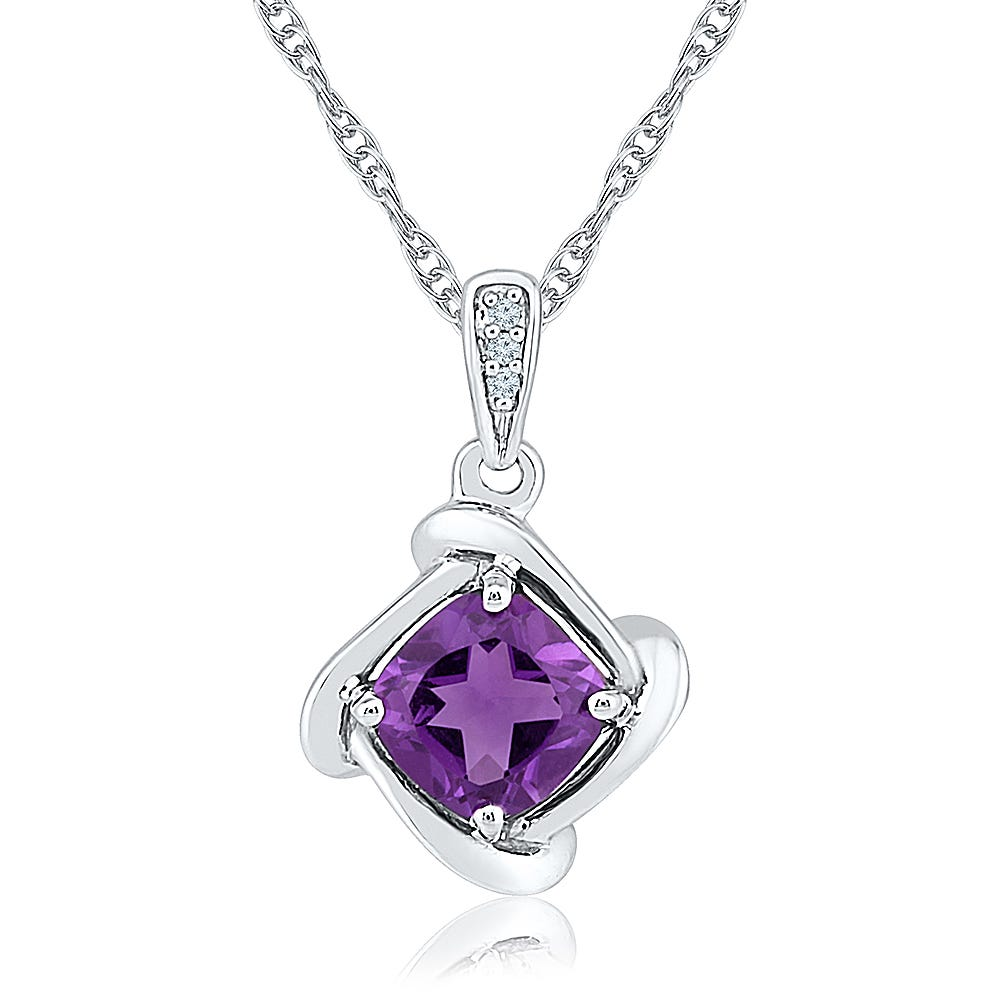 Amethyst Cushion-Cut Pendant in Sterling Silver