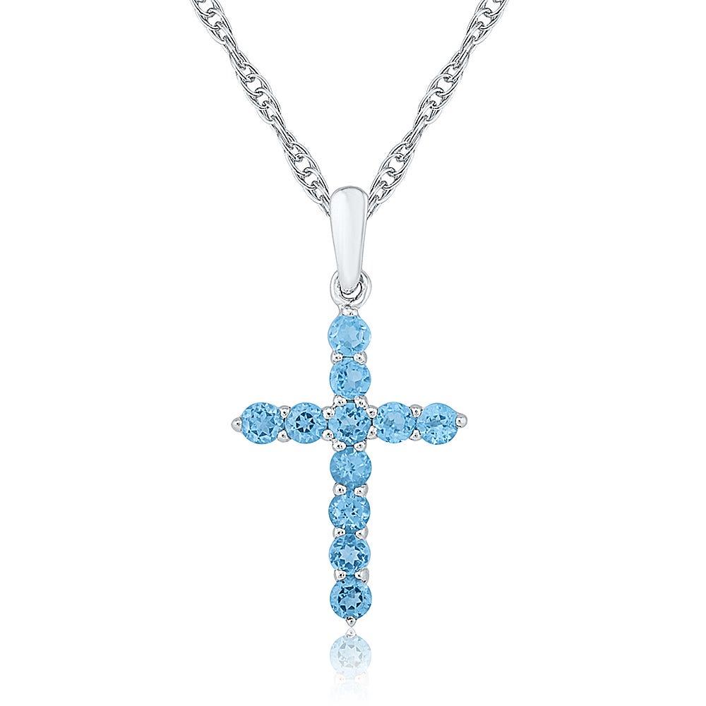 Blue Topaz Gemstone Studded Cross Pendant in Sterling Silver