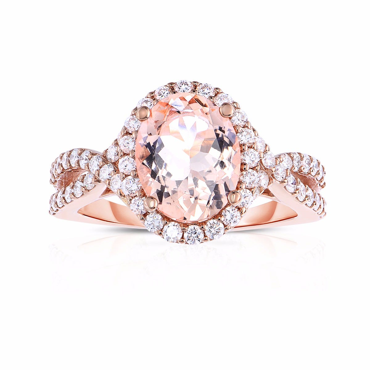 Oval Morganite & Diamond Halo Split Shank Ring in 14k Rose Gold