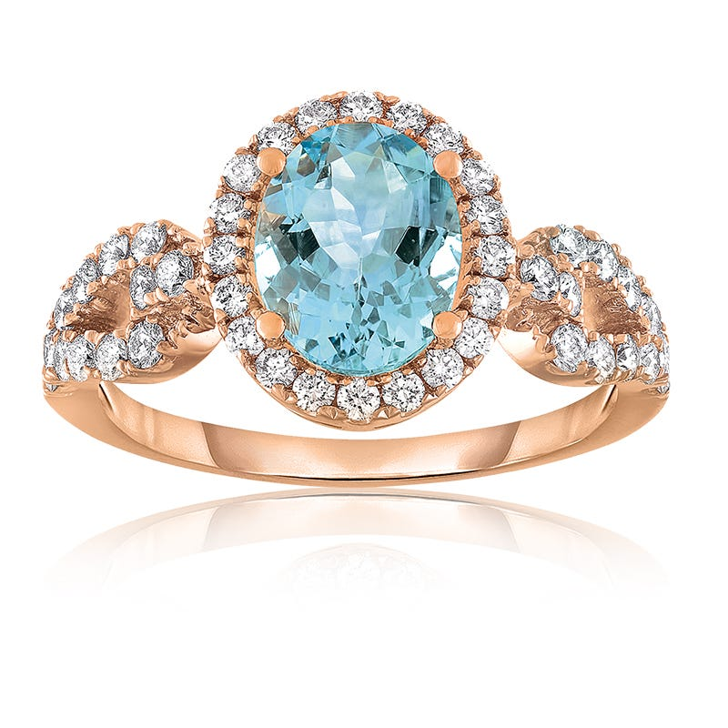 Oval Aquamarine & Diamond Halo Ring in 10k Rose Gold