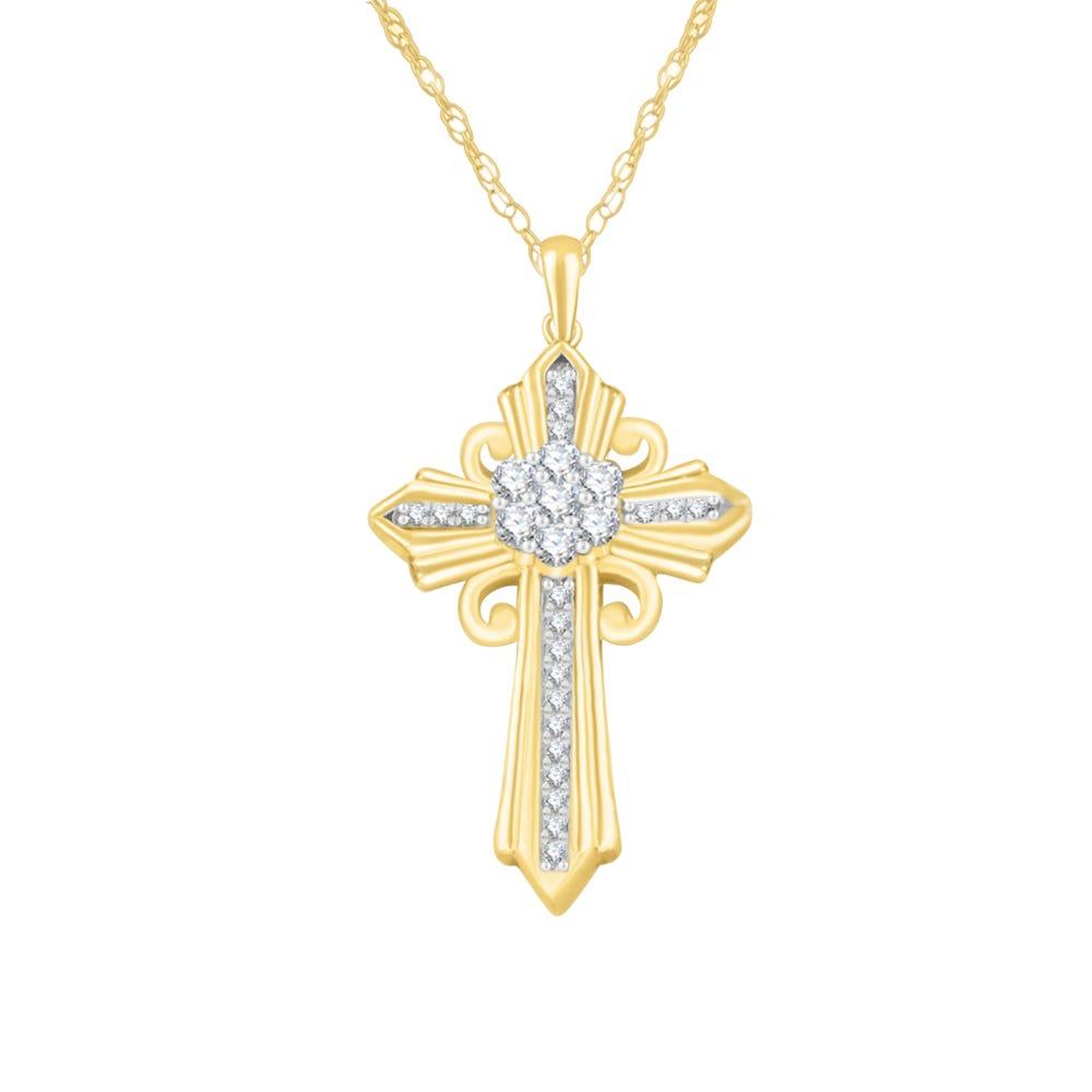 Religious Diamond Cluster Cross Pendant in 10k Yellow Gold
