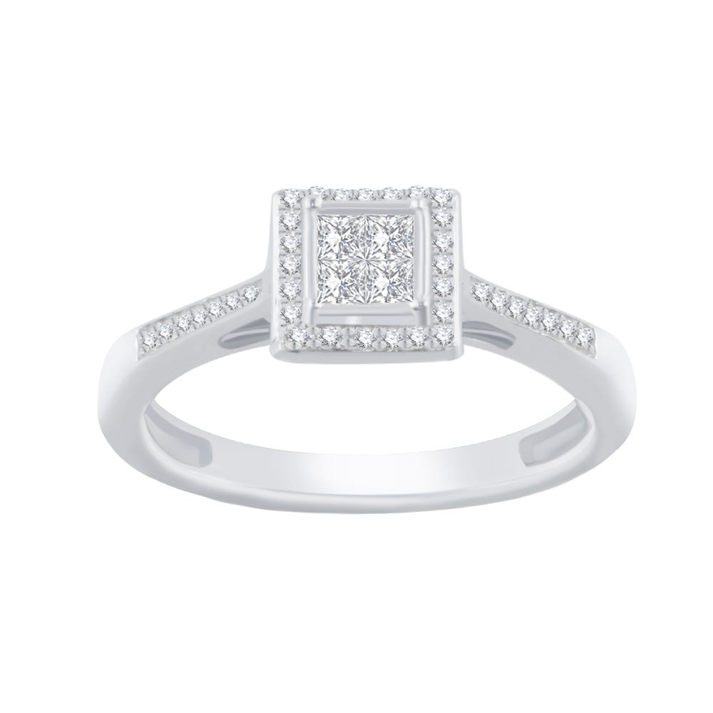 Square Halo Diamond Cluster Promise Ring in Sterling Silver