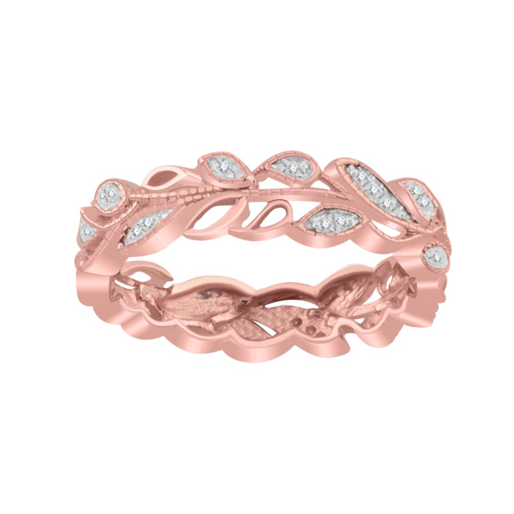 Leaf Diamond Eternity Ring in 10k Rose Gold