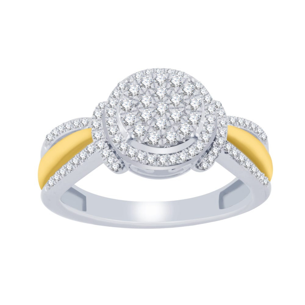 Two-Tone 10k Gold Round Diamond Cluster 3/8ctw. Promise Ring
