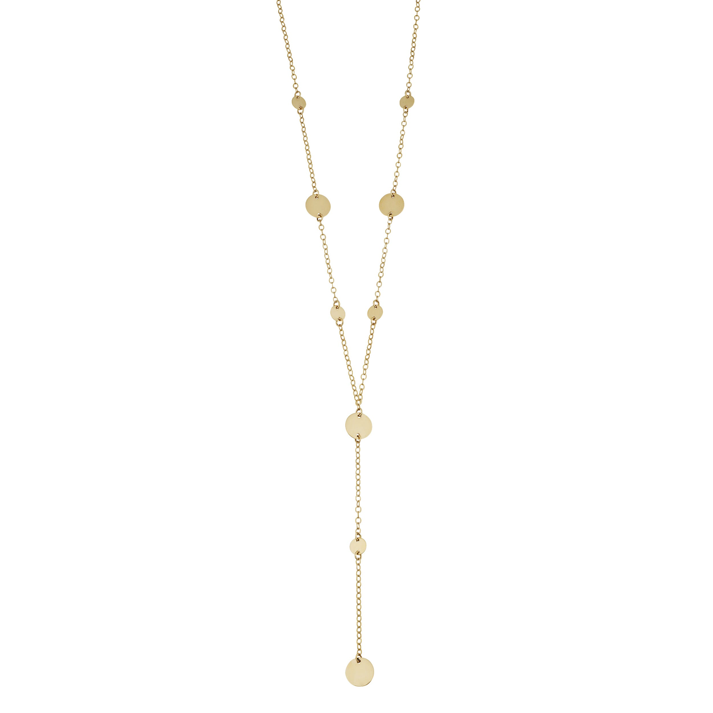 Multi Disc Lariat Fashion Necklace In 14k Yellow Gold