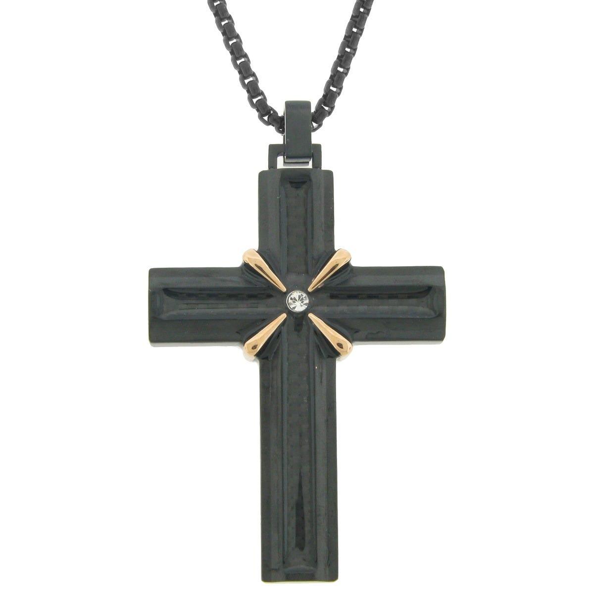 Men's Stainless Steel Multi Ion Plate Fancy X Center Cross Pendant