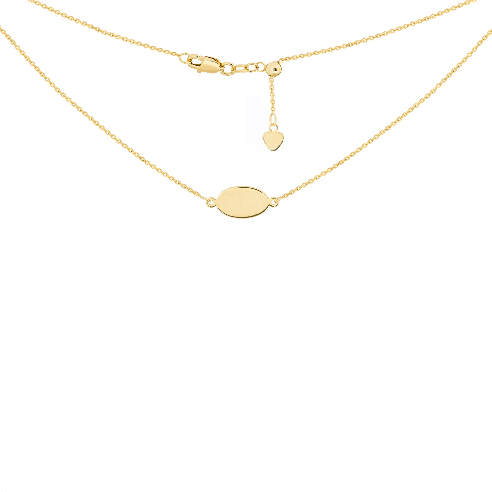 Oval Mini Plate Engravable Adjustable Choker Necklace in 14k Yellow Gold