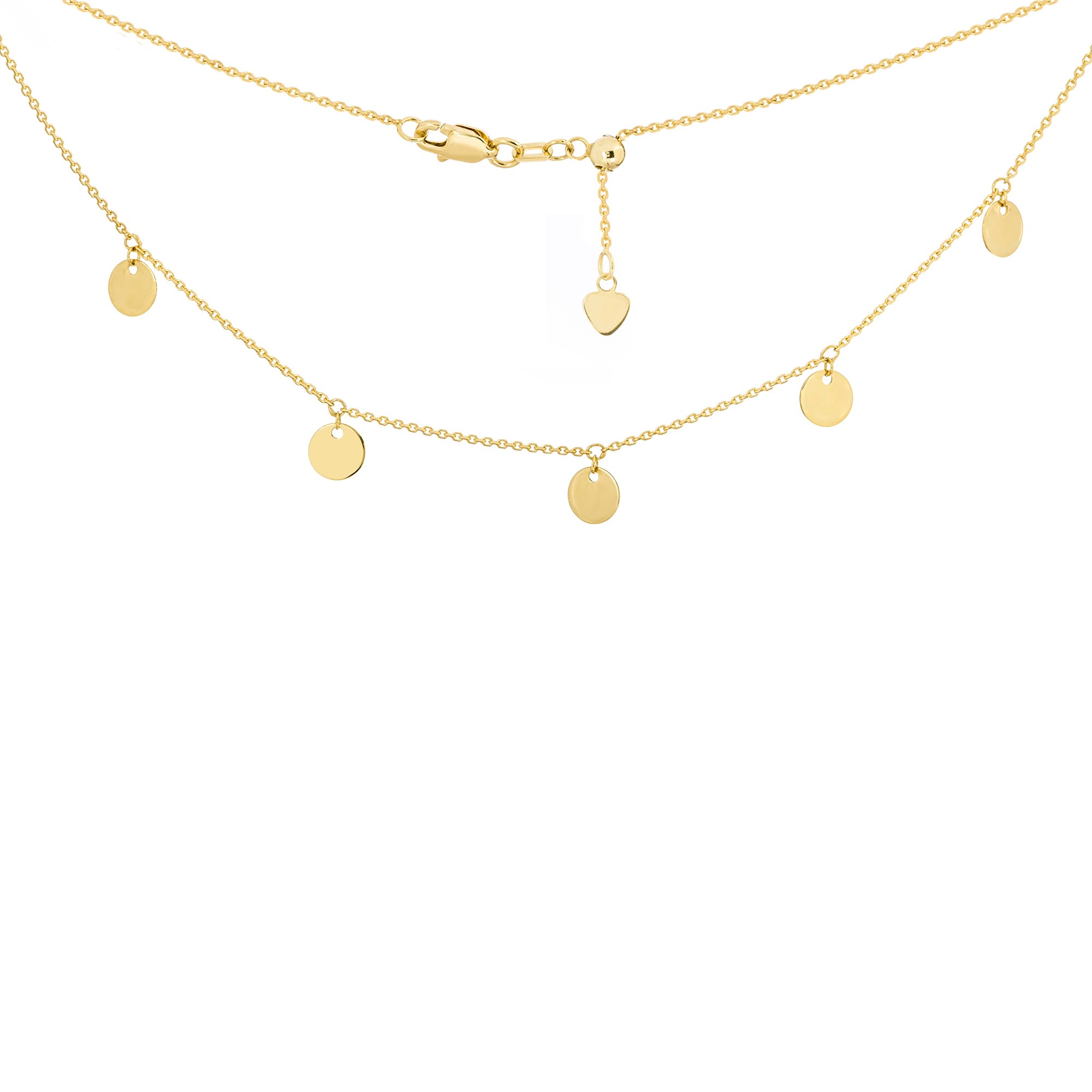 Mini Disc Dangle Adjustable Choker Necklace in 14k Yellow Gold