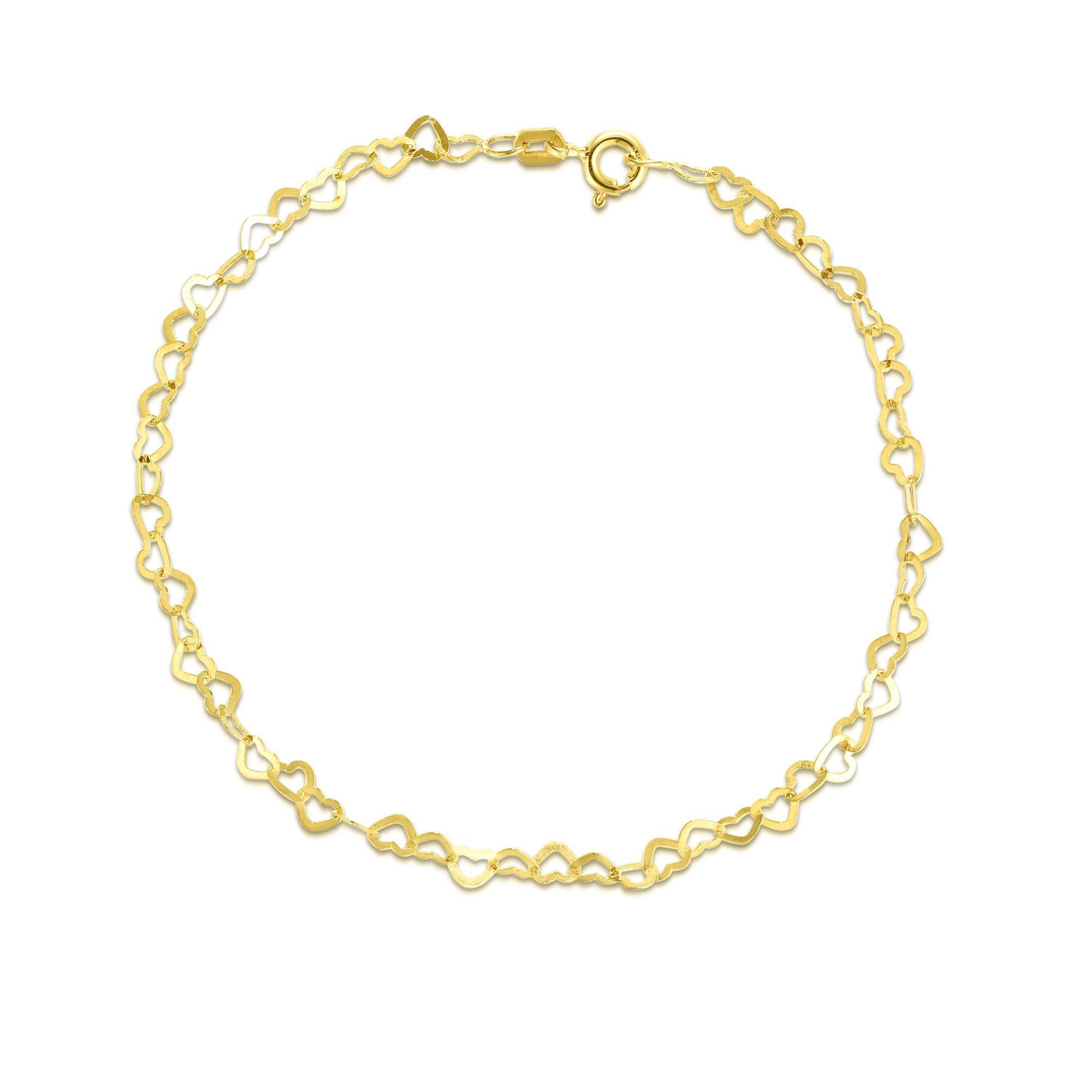 Fancy Multi-Heart Link Fashion Bracelet in 14k Yellow Gold