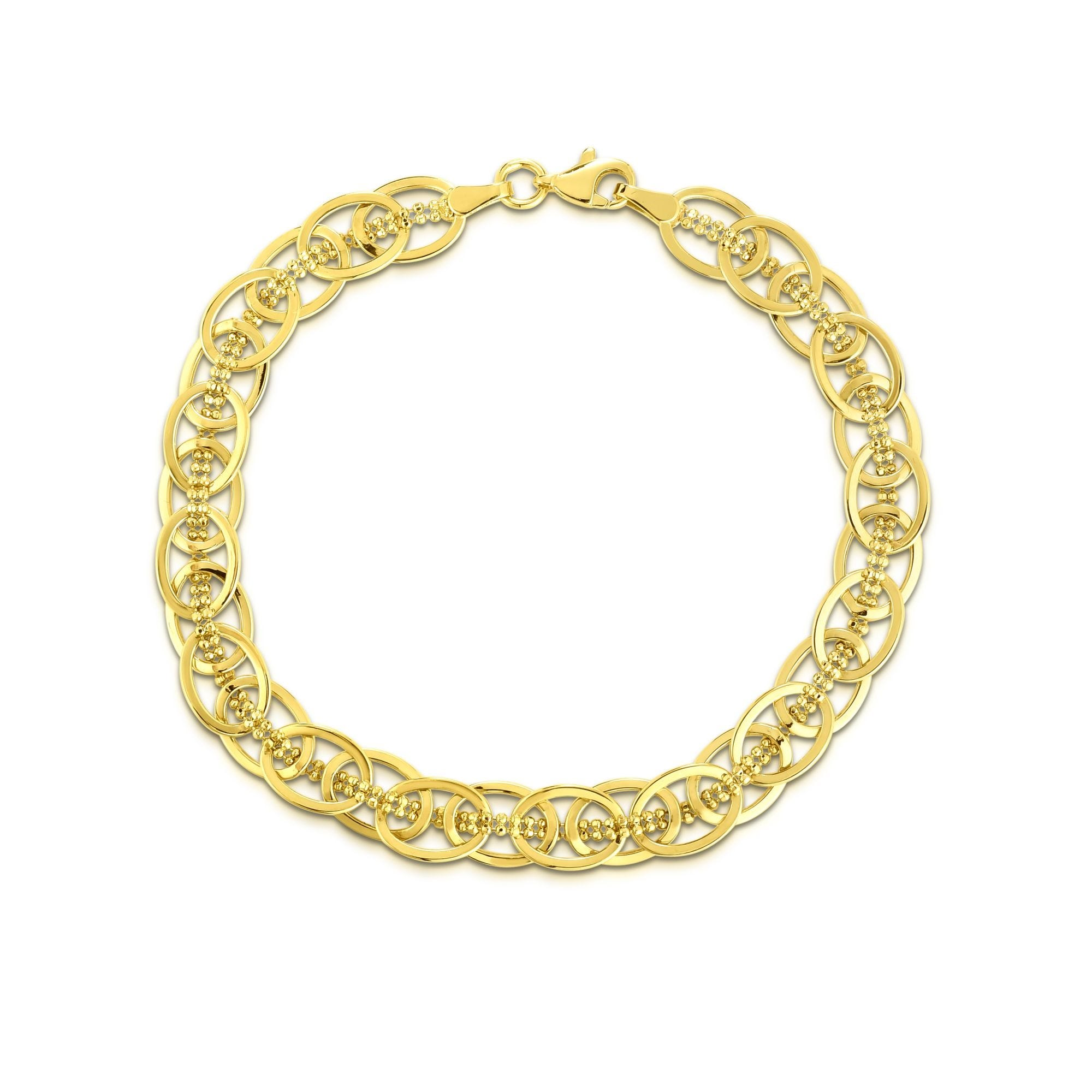 Polished Fancy Oval Link Bracelet in 14k Yellow