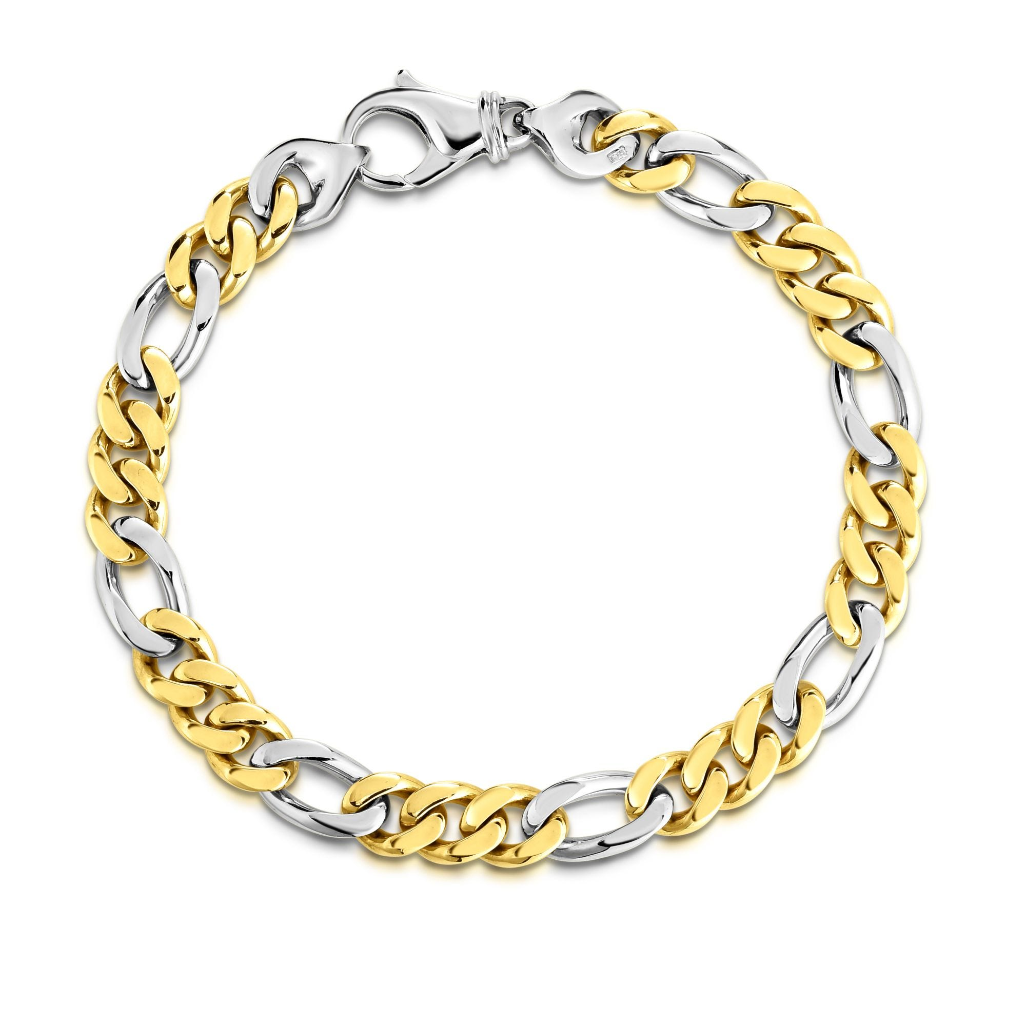 Men S Fancy Link 8 5 14k Yellow White Gold Bracelet