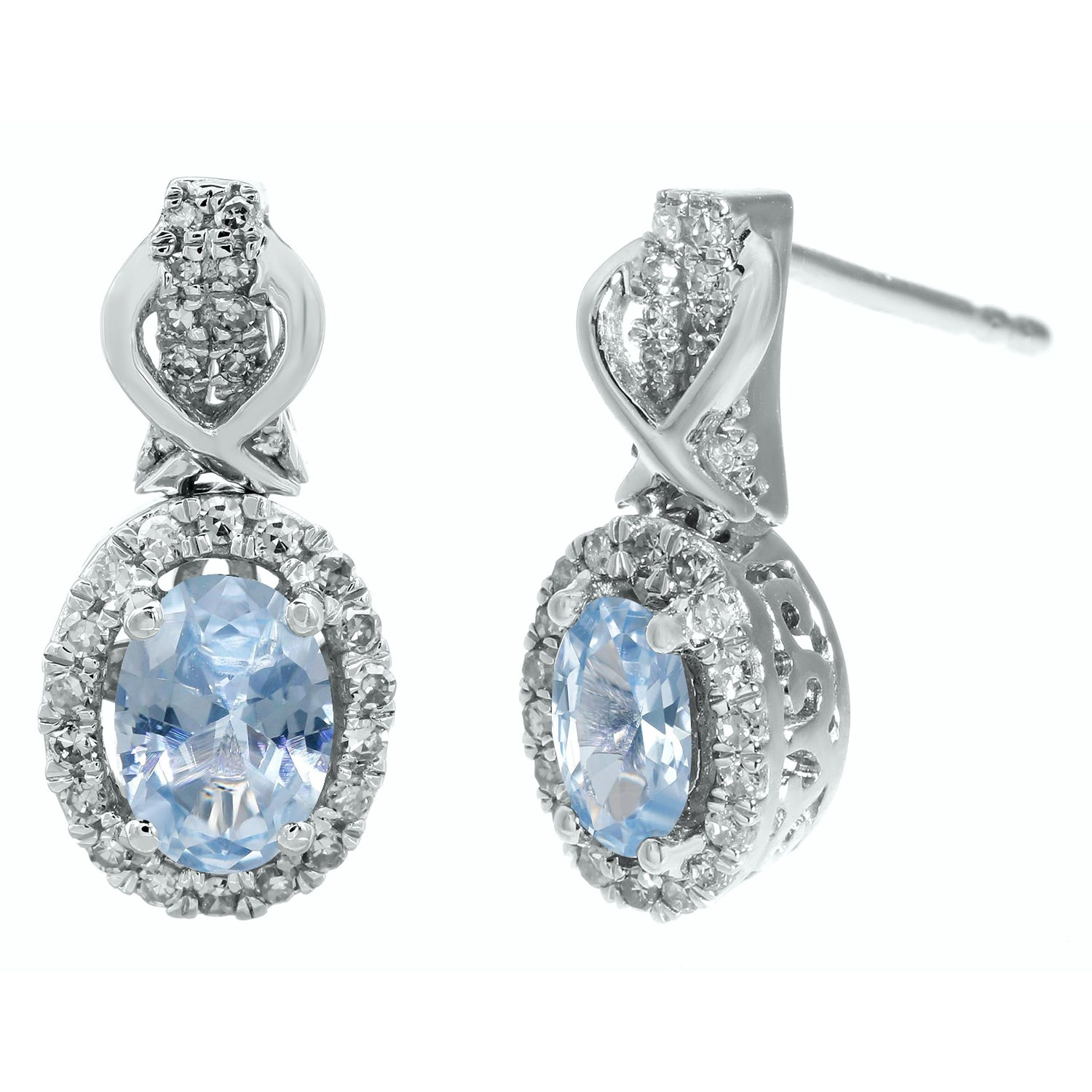 Oval Aquamarine Gemstone & Round Diamond Drop Earrings in 10k White Gold