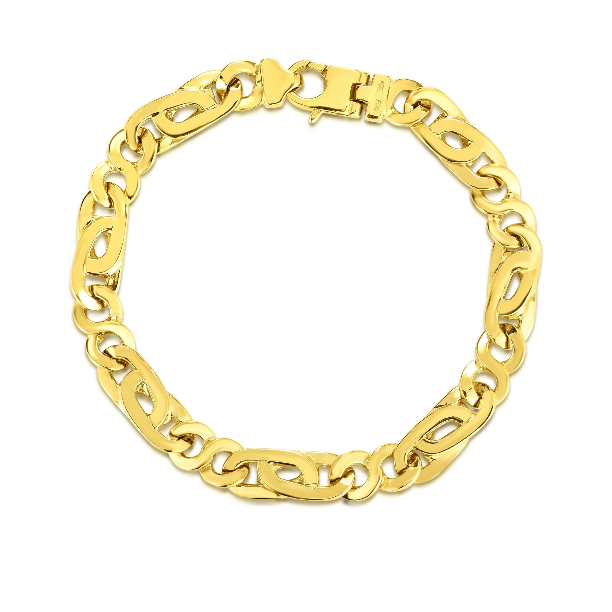Men S Fancy Link 8 5 14k Yellow Gold Bracelet