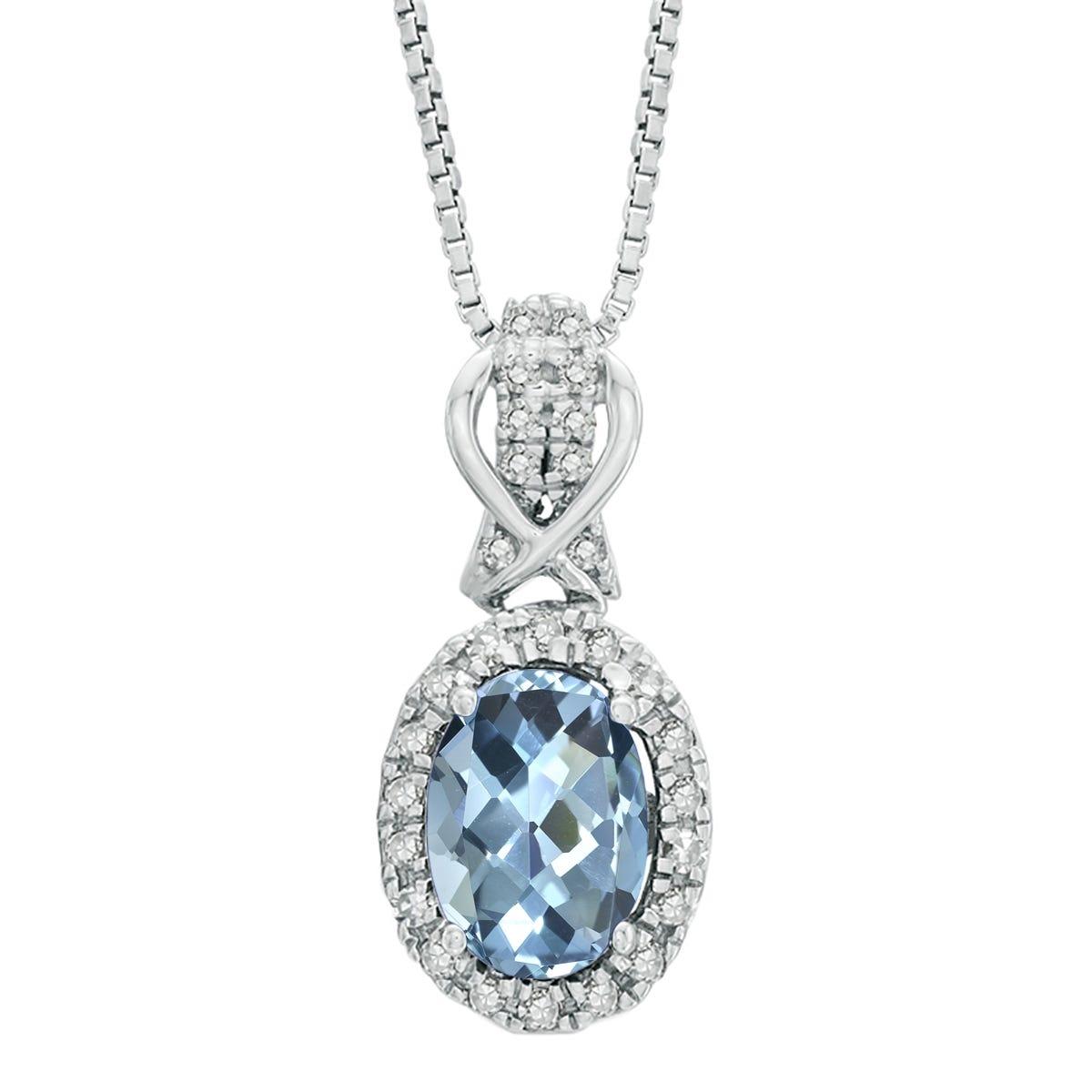 Oval Aquamarine Gemstone & Diamond Pendant in 10k White Gold