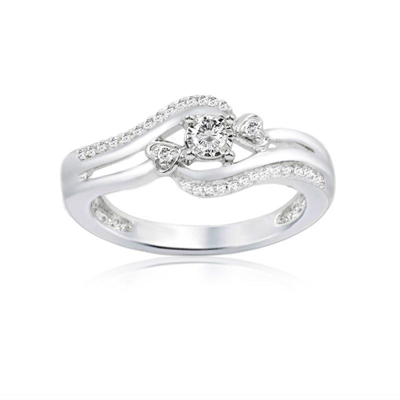 Diamond Bypass Design Fashion Promise Ring in 10k White Gold