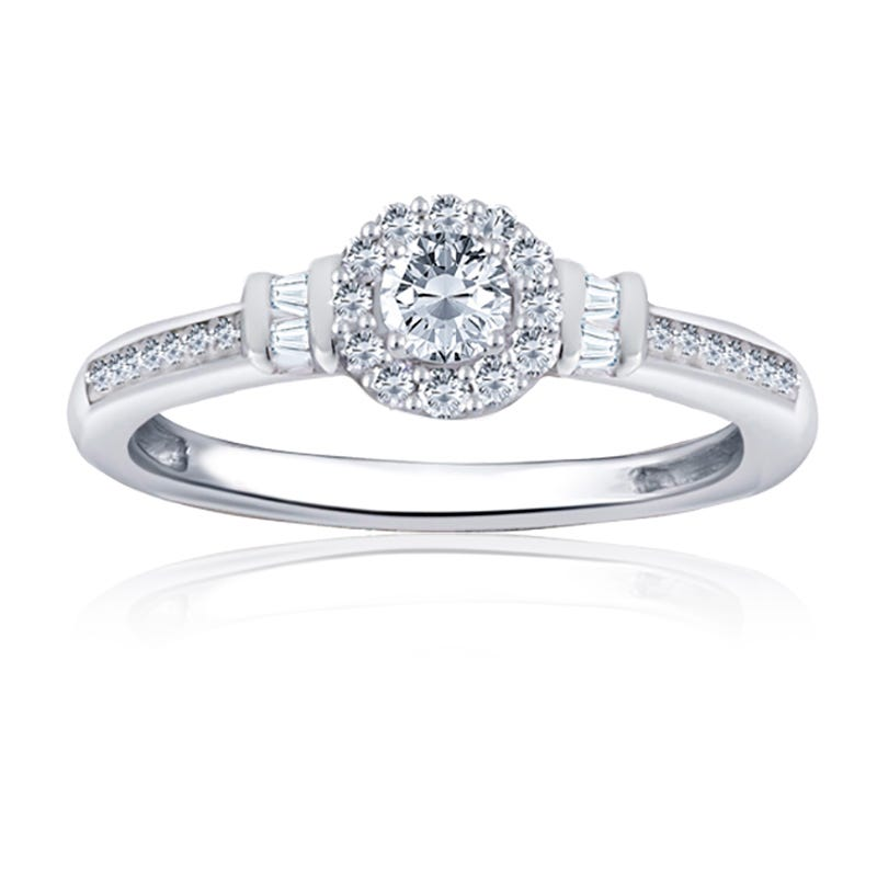 Round Halo & Baguette Diamond Promise Ring in 10k White Gold