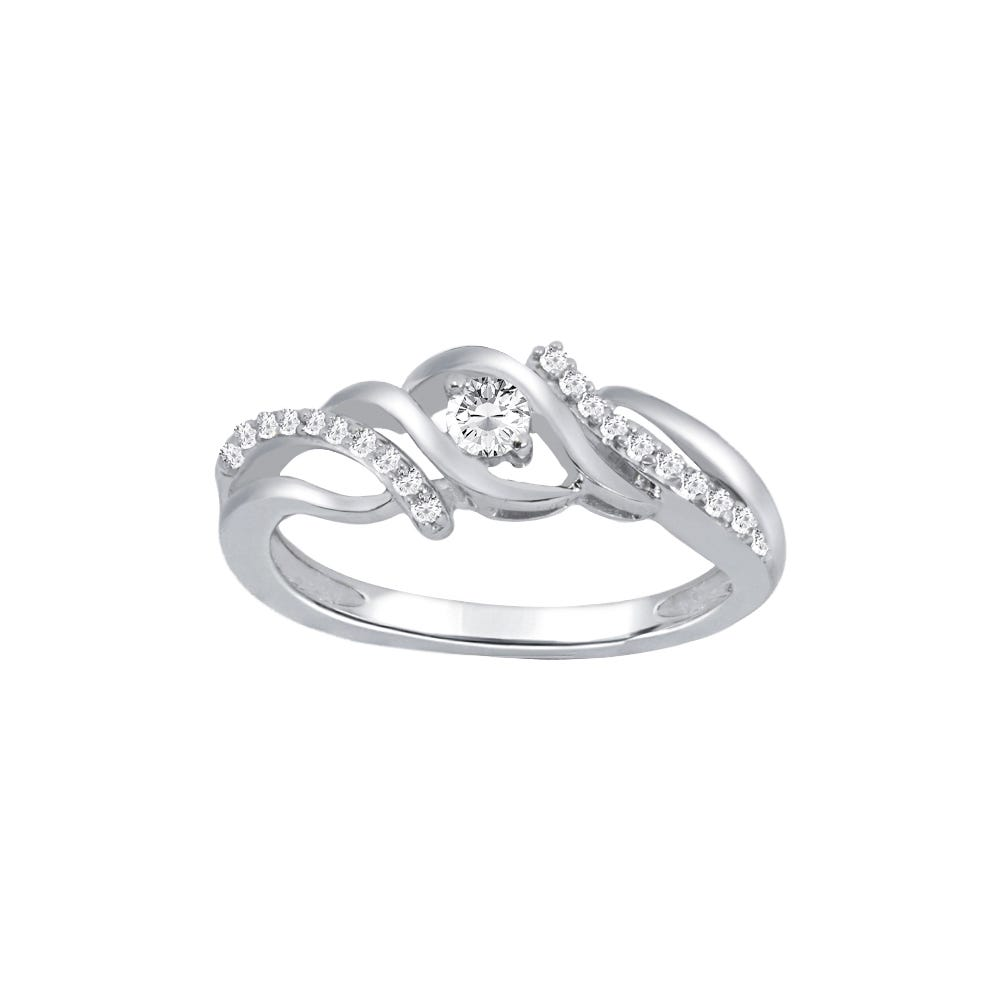 Diamond Double Bypass Design Fashion Promise Ring in 10k White Gold
