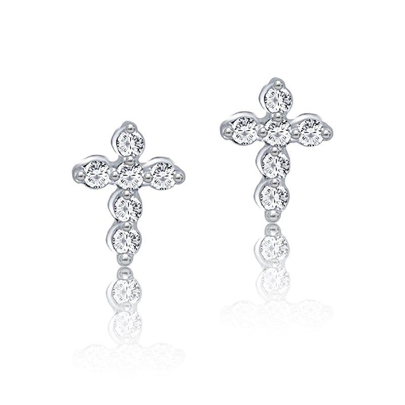 Petite Diamond Stud Cross Earrings