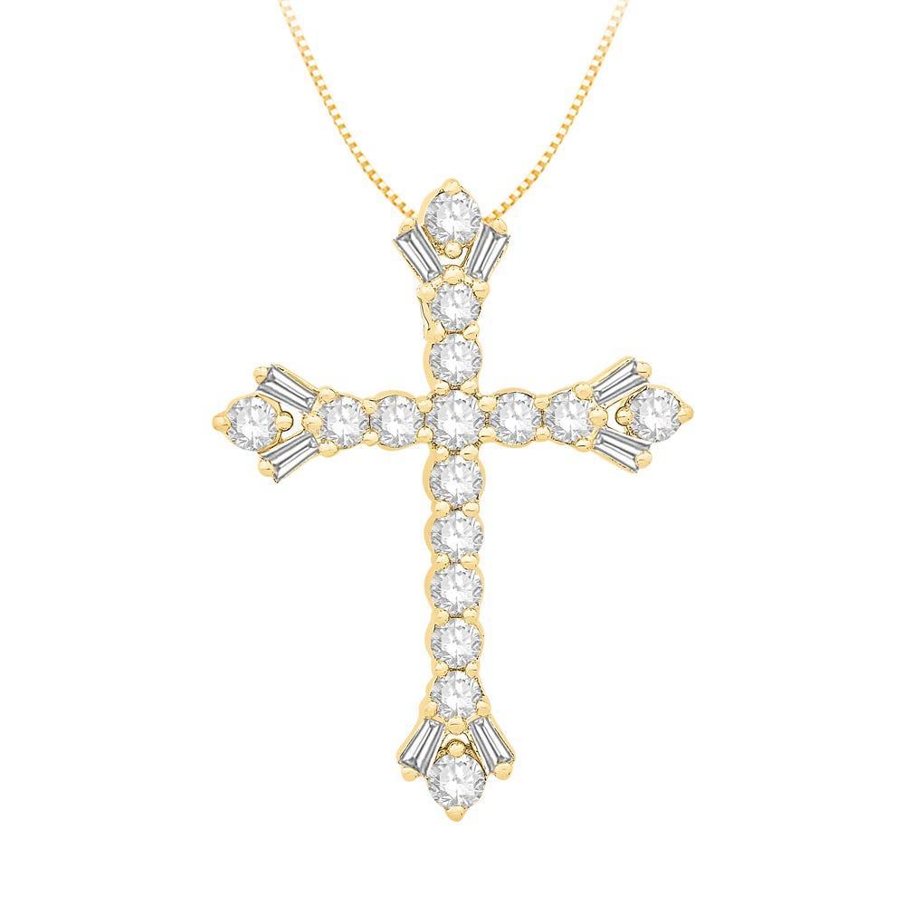 Diamond Round & Baguette Cross Pendant in 14k Yellow Gold
