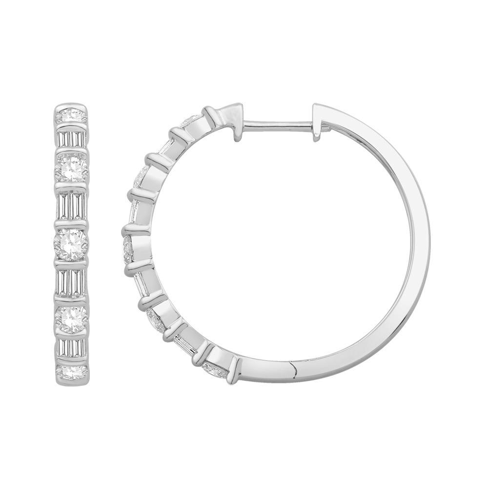 Fancy Round & Baguette Diamond Hoop Earrings in 14k White Gold