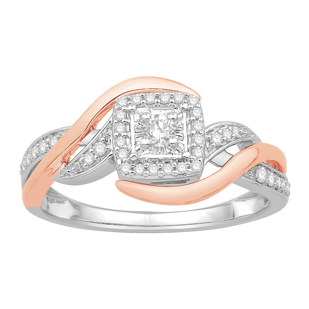 Princess-Cut Diamond Halo Bypass Promise Ring in 10k White & Rose Gold