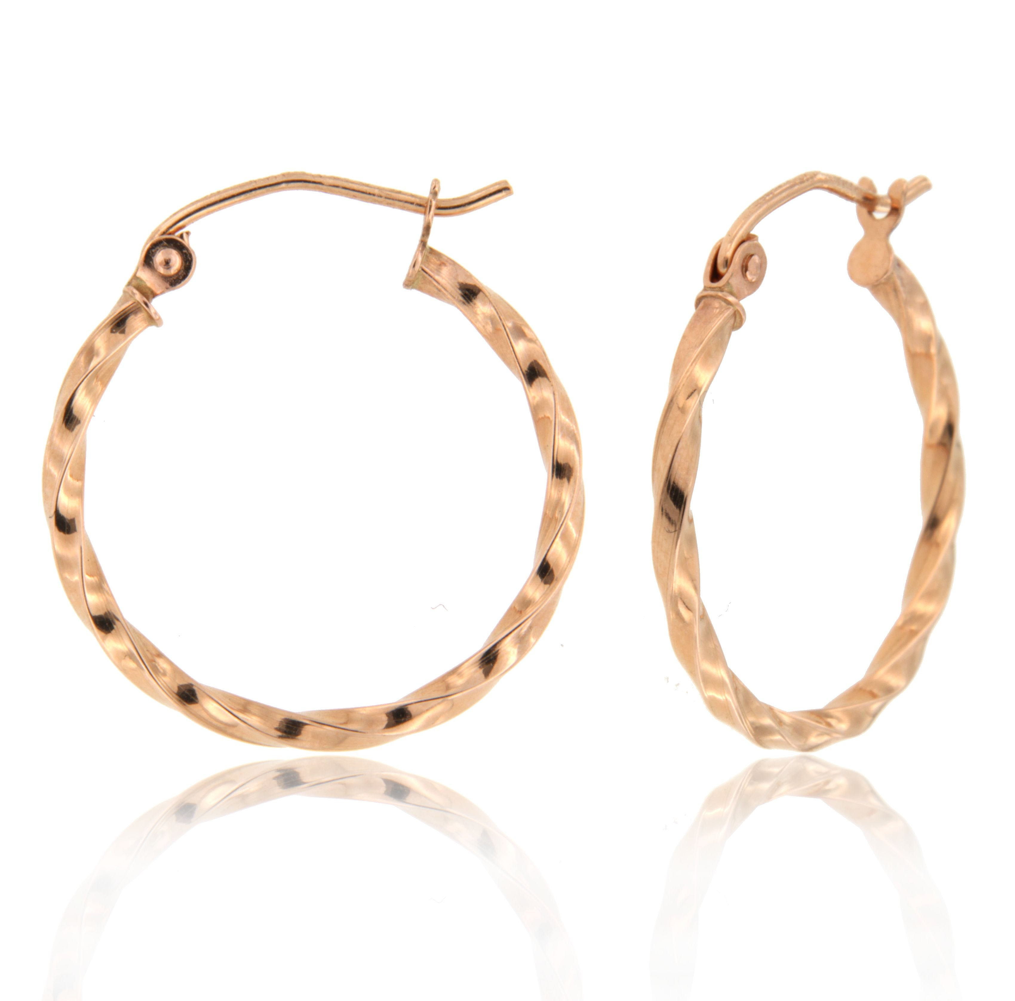 b5bc6e2d21446 Twist Hoop Earrings in 14k Rose Gold