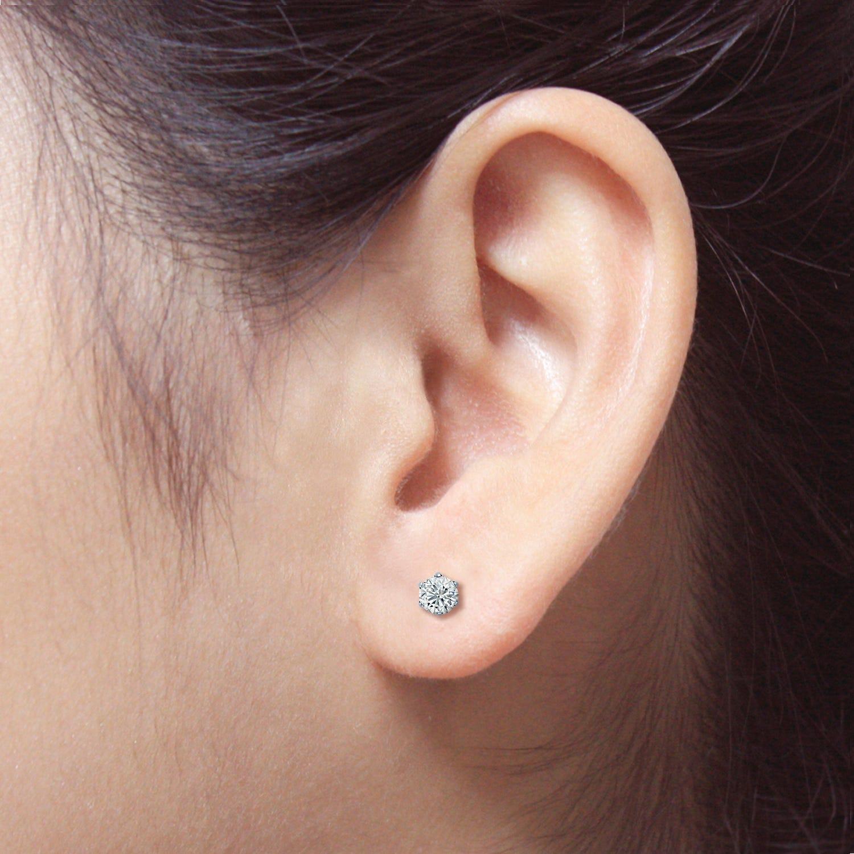 Round Diamond 1/5ctw. (IJ-VS2) Solitaire Stud 6-Prong Earrings in 14K White Gold