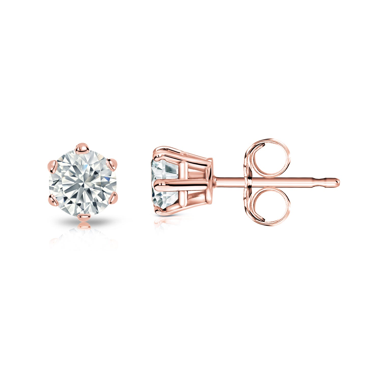 Round Diamond 1/7ctw. (IJ-SI1) Solitaire Stud 6-Prong Earrings in 14K Rose Gold