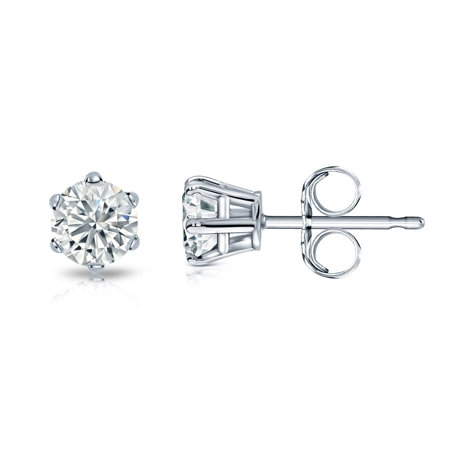 Round Diamond 1/3ctw. (IJ-SI1) Solitaire Stud 6-Prong Earrings in 14K White Gold