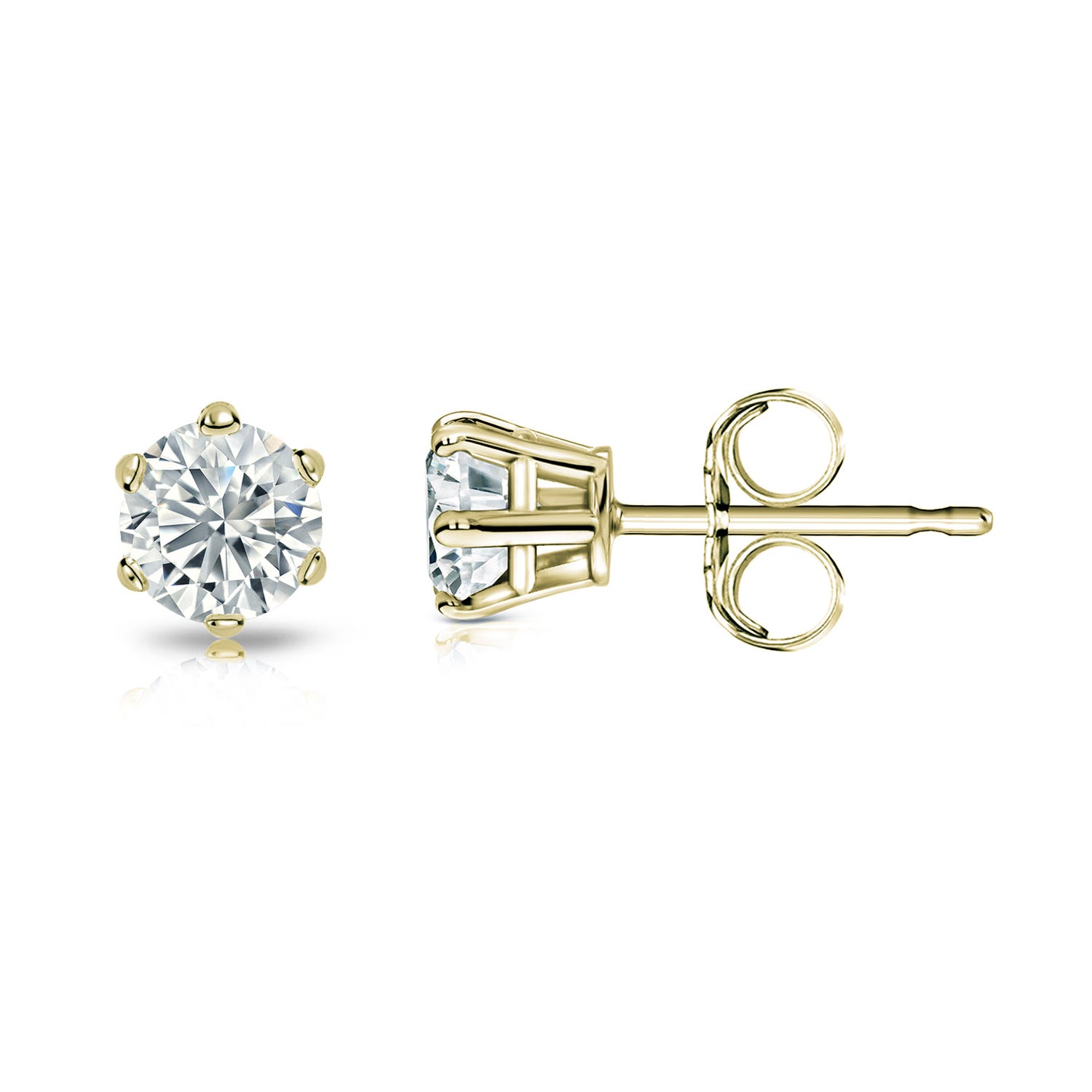Round Diamond 1/3ctw. (IJ-VS2) Solitaire Stud 6-Prong Earrings in 14K Yellow Gold