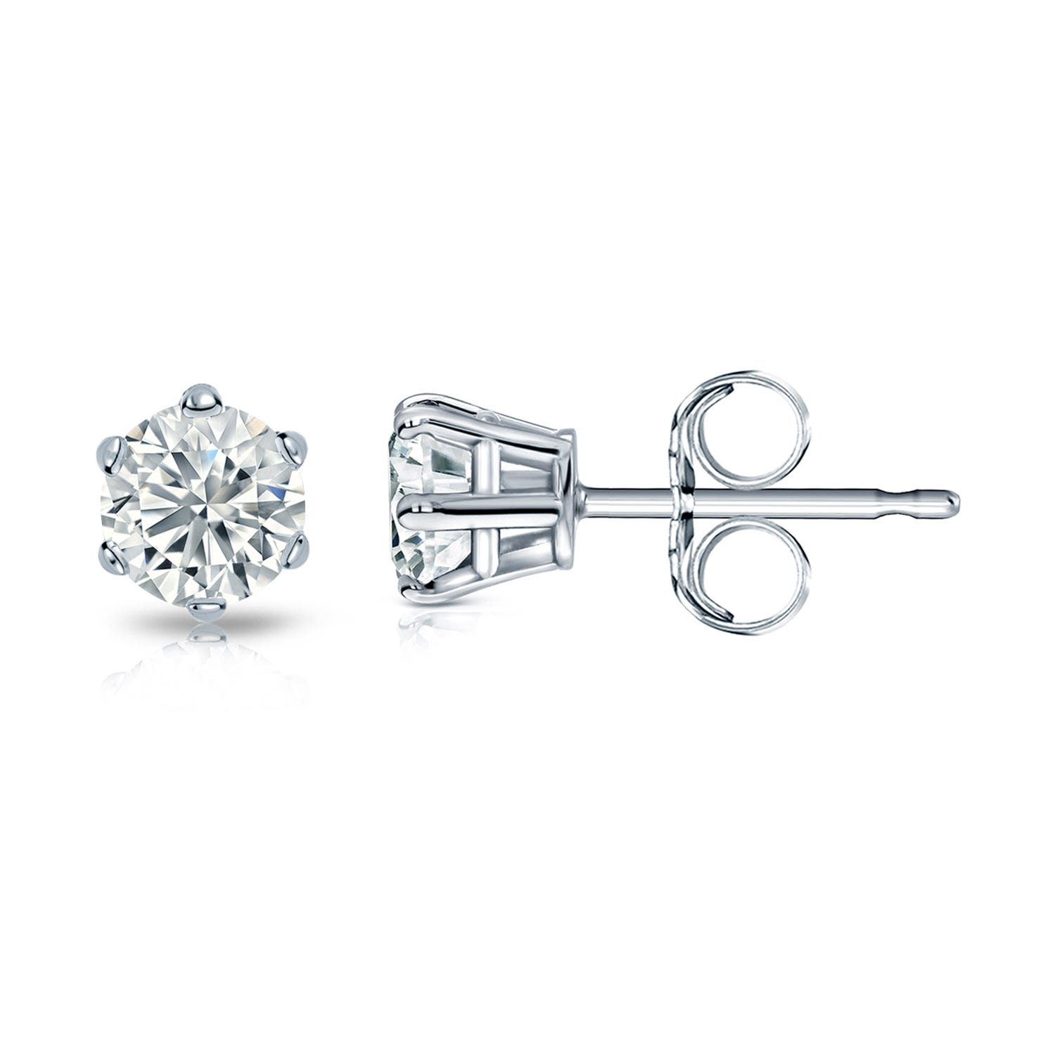 Round Diamond 3/8ctw. (IJ-I1) Solitaire Stud 6-Prong Earrings in 14K White Gold