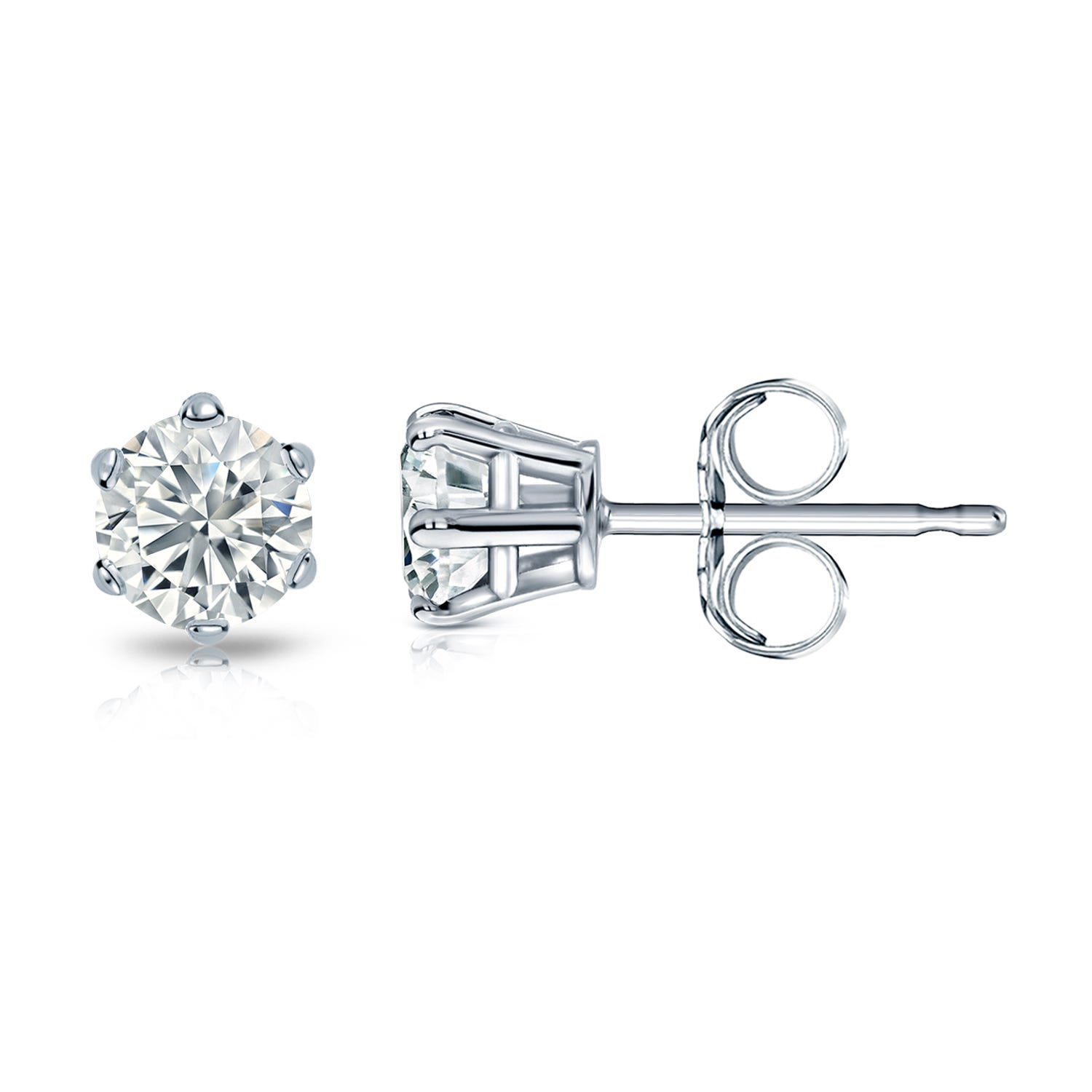 Round Diamond 1/2ctw. (IJ-VS2) Solitaire Stud 6-Prong Earrings in 14K White Gold