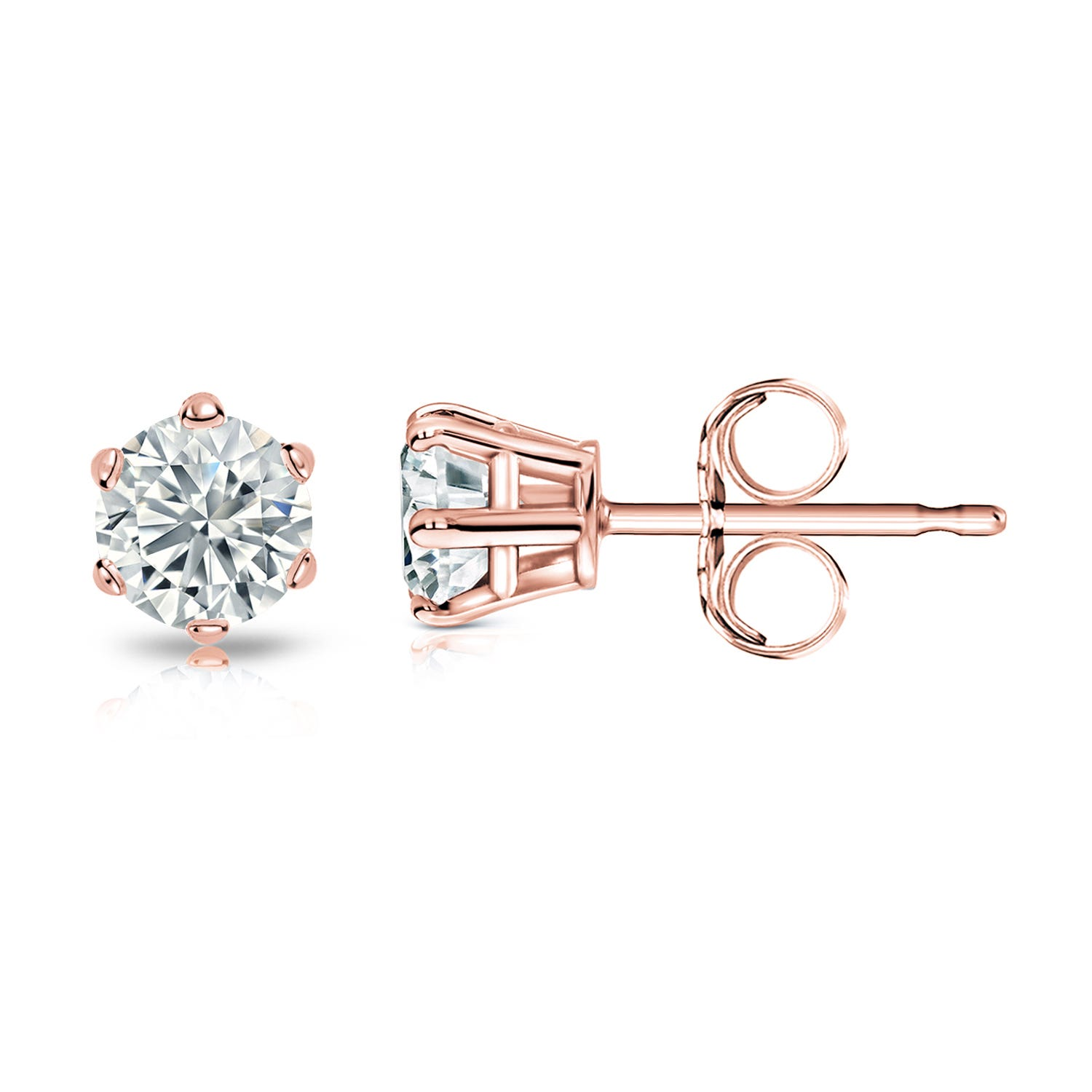 Round Diamond 1/2ctw. (IJ-VS2) Solitaire Stud 6-Prong Earrings in 14K Rose Gold