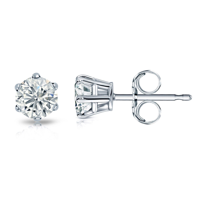 Round Diamond 5/8ctw. (IJ-VS2) Solitaire Stud 6-Prong Earrings in 14K White Gold
