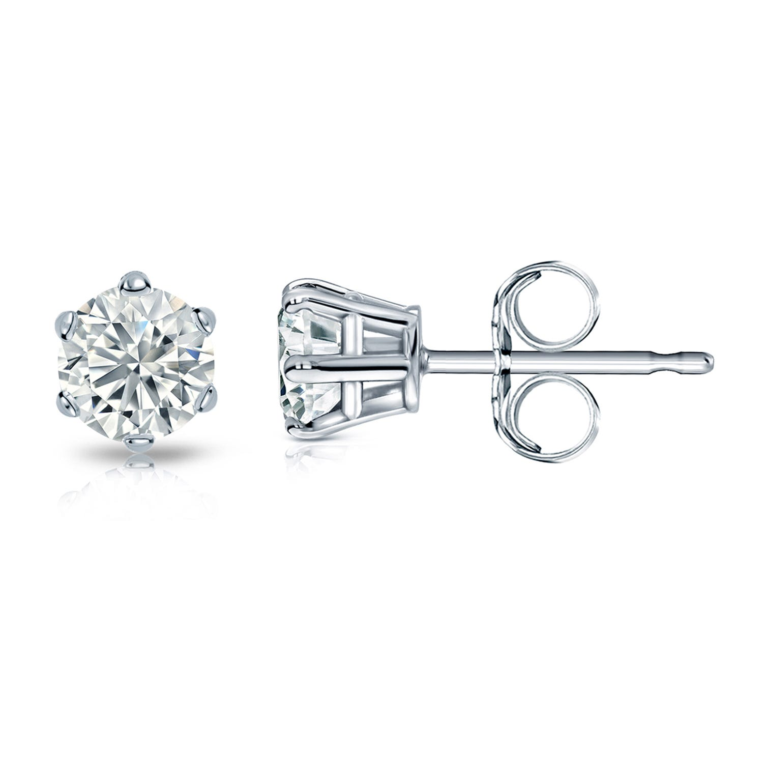 Round Diamond 5/8ctw. (IJ-I2) Solitaire Stud 6-Prong Earrings in 14K White Gold