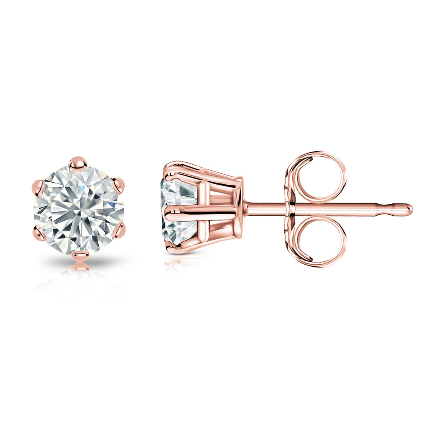 Round Diamond 5/8ctw. (IJ-I1) Solitaire Stud 6-Prong Earrings in 14K Rose Gold