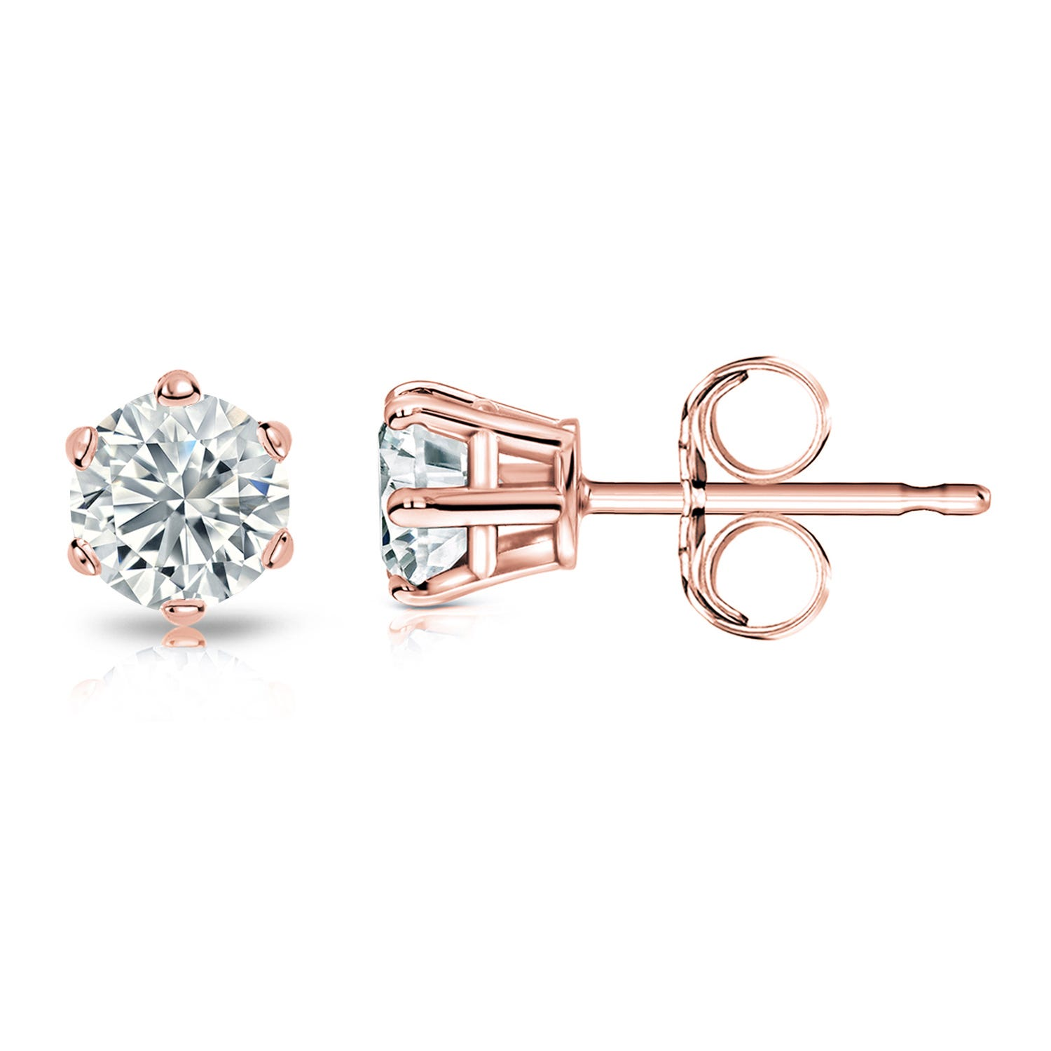 Round Diamond 3/4ctw. (IJ-I2) Solitaire Stud 6-Prong Earrings in 14K Rose Gold