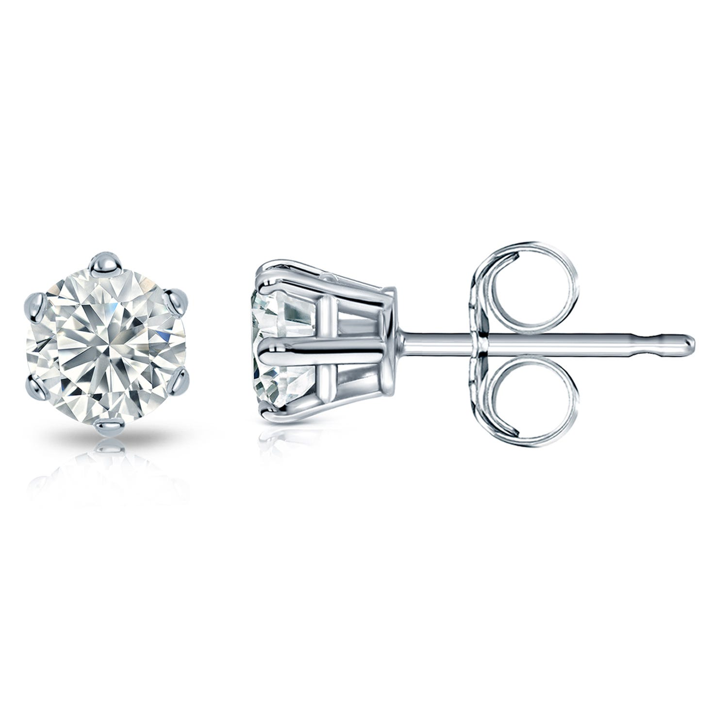 Round Diamond 1ctw. (IJ-I2) Solitaire Stud 6-Prong Earrings in 14K White Gold