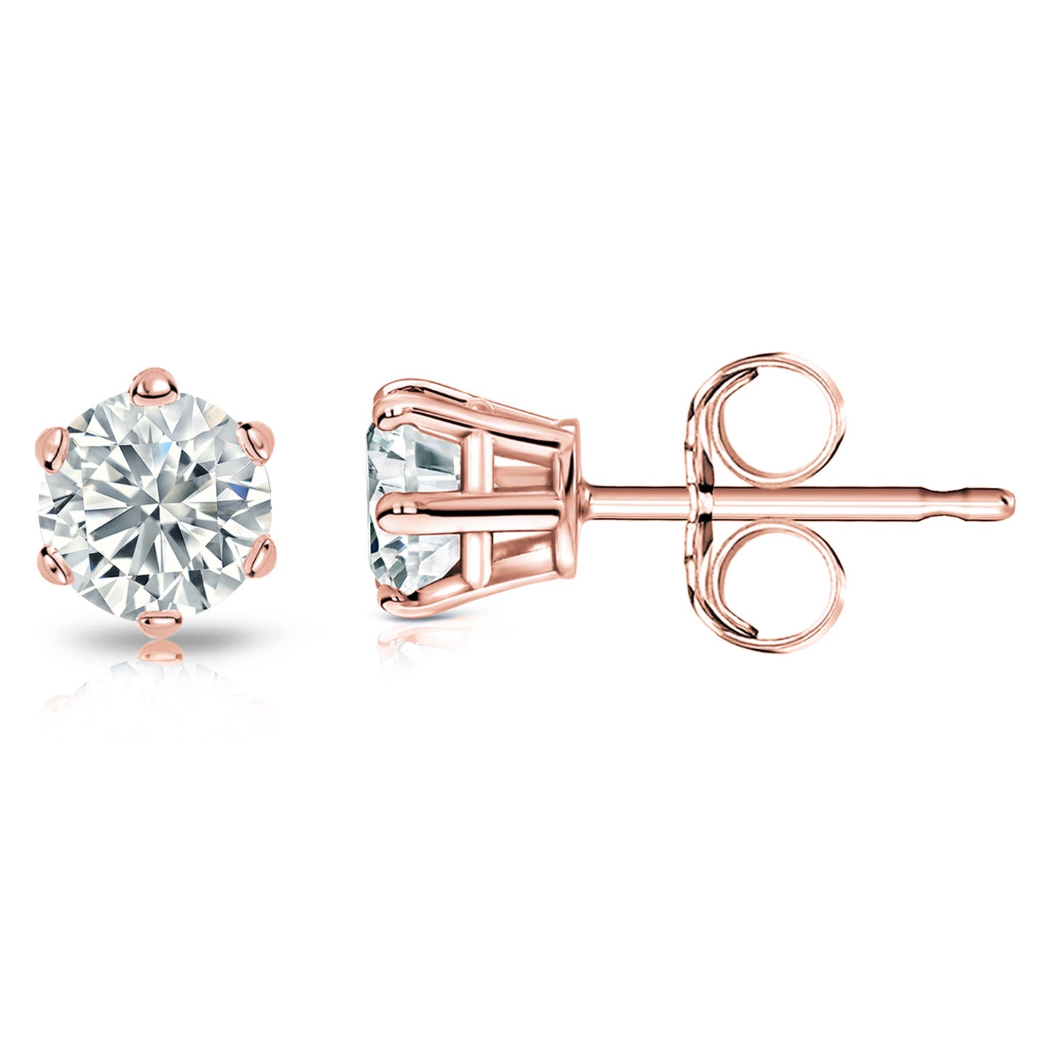 Round Diamond 1ctw. (IJ-SI1) Solitaire Stud 6-Prong Earrings in 14K Rose Gold